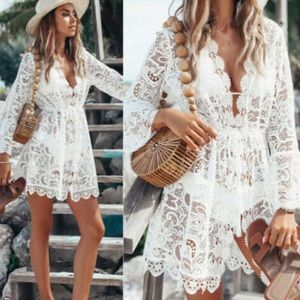 Bon Voyage ! Swimsuit Cover Up in White Lace